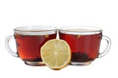 Tea and lemon three two Royalty Free Stock Photo