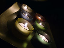 Tea light candles. On plate Stock Image