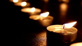 Tea Light Candles blurred stock footage