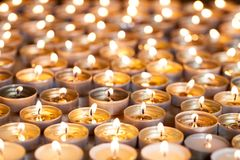 Free Tea Light Candles Burning Bright. Selective Focus Christmas And Royalty Free Stock Photos - 103324988
