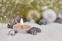 Tea light christmas greeting card Stock Images