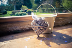 Tea light holder with wicker heart Stock Images