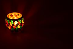 Tea light in a nice holder. With much copyspace Stock Images