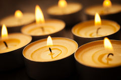 Tea lights. Spa or romantic concept with some small candles, selective focus on nearest stock image