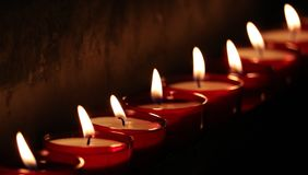 Tea Lights, Church, Light, Prayer Stock Image