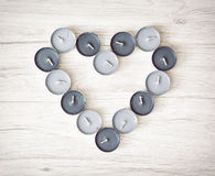 Tea lights in the heart shape, Valentine's day Stock Photos