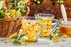 Tea with lime and honey Royalty Free Stock Photos