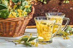 Tea with lime and honey served in the garden at summer Royalty Free Stock Images