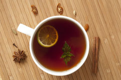 Tea with lime and mint Royalty Free Stock Photo