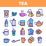 Tea Line Icon Set Vector. Restaurant Label Design. Tea Drink Icons. Traditional Mug Pictogram. Thin Outline Web stock illustration