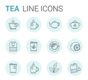 Tea Line Icons. 12 Tea line icons in circles - tea bags, tea cups and mugs, leaves, lemon, sugar, teapot Royalty Free Stock Images