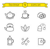 Tea linear icons set Stock Image