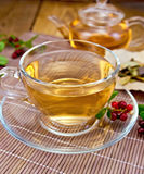 Tea with lingonberry in glass cup on bamboo napkin Stock Photo