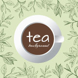 Tea logo vector background with painted leaves tea Royalty Free Stock Photo