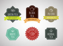 Tea logotypes set. Vector template collection. Stock Image