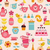 Tea with love pattern. Cute tea time pattern with funny birds royalty free illustration