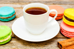 Tea with macaroon Stock Photography