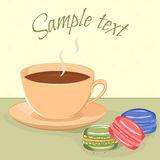 Tea and macaroons. Vector illustration of cup with hot beverage, saucer and three macaroons colorful macaroons on a table. Subtle outline pattern of macaroons Royalty Free Stock Photography