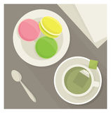 Tea and macaroons. Vector illustration Stock Photos