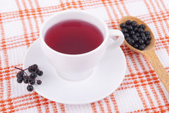 Tea made from berries of black elderberry. Stock Photo