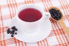 Tea made from berries of black elderberry. Stock Photo