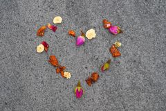 Heart From Colorful Herbal Tea royalty free stock image