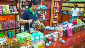 Tea making demonstration, Chiang Rai, Thailand. CHIANG RAI, THAILAND - MAY 10, 2019: Visit Suwirun tea shop and watch traditional oolong tea making demostration stock footage