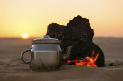 Tea making in Sahara desert in Egypt Royalty Free Stock Image