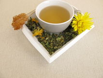 Tea with marigold and cornflower on tray. Herbal tea with marigold and cornflower on tray Stock Photography