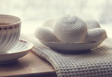 Tea and marshmallow. Still life: tea and marshmallow Royalty Free Stock Photo