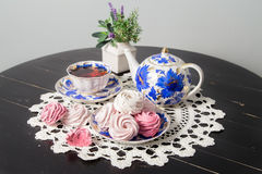 Tea with marshmallows on the table Royalty Free Stock Photo