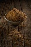 Tea masala. Black tea with spices for Garam Masala Chai Tea against wooden background Stock Photo
