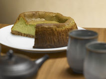 Tea Matcha cheese cake Stock Image