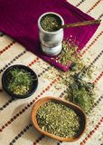 Mate tea with various herbs, royalty free stock images