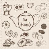 Tea med kexar royaltyfri illustrationer