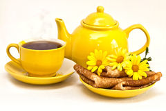 Tea med pannkakor Royaltyfri Fotografi