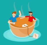 tea meeting in a cup of tea vector vector illustration