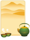 Tea menu. Cover with cup and mint Stock Photos