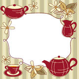 Tea Menu Card. Menu Card with teapot, cup of tea, leaf of mint and place for text Stock Photography
