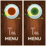 Tea menu. Cup of tea with lemon. Wooden background. Vector illustration. Tea menu. Cup of tea with lemon. Wooden background. Vector illustration Royalty Free Stock Photos