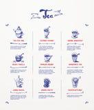 Tea menu design. Blue pen drawings Stock Image