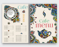 Tea menu, ethnic ornament. Stock Photos