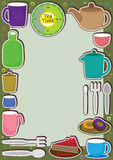 Tea Menu Frame_eps. Illustration of tea time with frame to write your menu Royalty Free Stock Photos