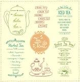 Tea menu list designs set. Herbal tea, iced and detox tea, vector hand drawn illustration Stock Images