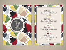 Tea menu. Pattern with cups of tea. Size a4. Vector illustration, eps10 Royalty Free Stock Image
