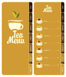 Tea menu. With price list and bookmarks Stock Photo