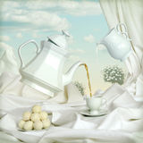 Tea with milk. A beautiful still life with tea party Stock Images
