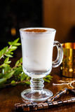 Tea with milk and cinnamon in a glass Cup Royalty Free Stock Photography