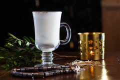 Tea with milk and cinnamon in a glass Cup Royalty Free Stock Photo