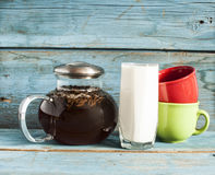 Tea and milk on old wood background Stock Image